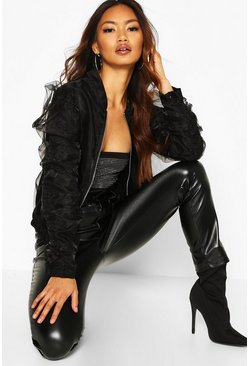 Organza Ruched Sleeve Bomber Jacket, Black