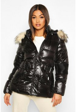 Womens Black Faux Fur Trim Belted Parka Coat