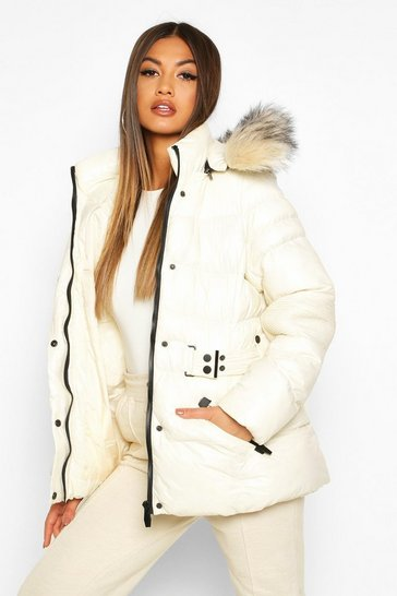 Womens White Faux Fur Trim Belted Parka Coat