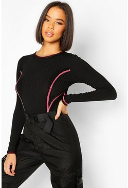 Hot pink Contrast Stitch Long Sleeve High Rise Bodysuit