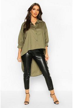 Khaki Oversized Dip Hem Cotton Shirt