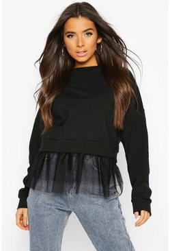 Black 2 In 1 Mesh Sweat Top