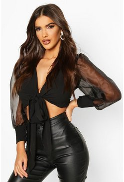 Black Tie Front Organza Sleeve Cropped Blouse