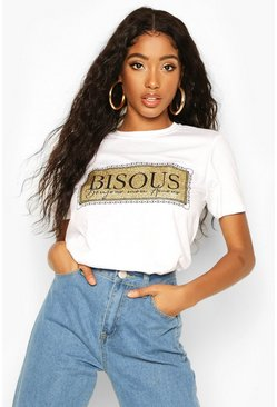 Womens White Glitter 'Bisous' T-Shirt