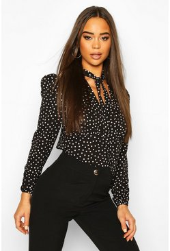 Black Pussy Bow V Neck Polka Dot Blouse Body