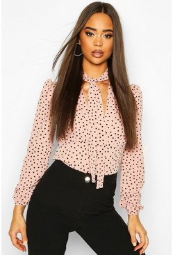 Blush Pussy Bow V Neck Polka Dot Blouse Body