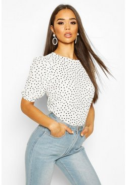 Ivory Volume Sleeve Polka Dot Blouse