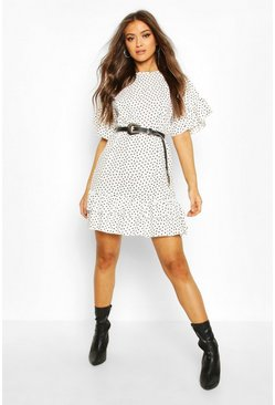 Ivory Frill Sleeve & Hem Polka Dot Shift Dress