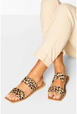 Wide Fit Leopard Double Strap Square Toe Sliders