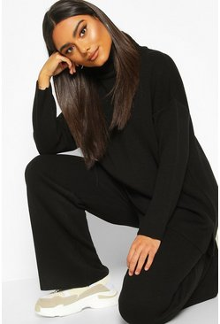 Black Premium Knit Roll Neck Set