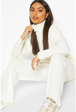 Cream Premium Knit Turtleneck Set