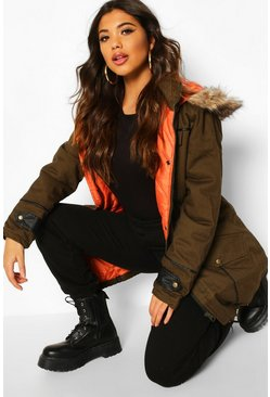 Womens Khaki Faux Fur Trim Pu Detail Parka