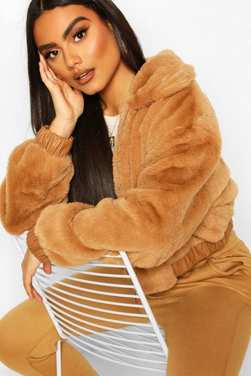 Camel Teddy Faux Fur Contrast Detail Bomber Jacket