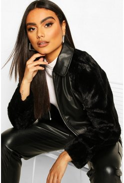 Black Leather Look Faux Fur Sleeve Bomber Jacket