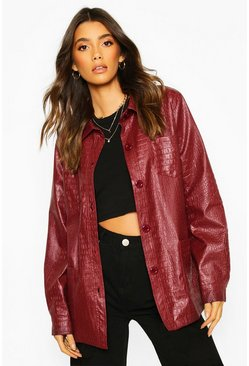 Wine Faux Croc Faux Leather Belted Trench Coat