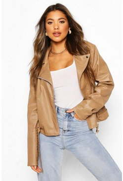 Stone Croc Faux Leather PU Moto Jacket