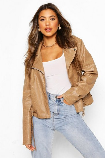Stone Croc Faux Leather Pu Biker Jacket