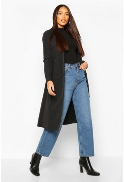 Black Utility Pocket Tie Waist Trench Coat