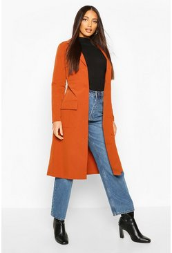 Rust Utility Pocket Tie Waist Trench Coat