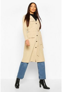 Stone Utility Pocket Tie Waist Trench Coat