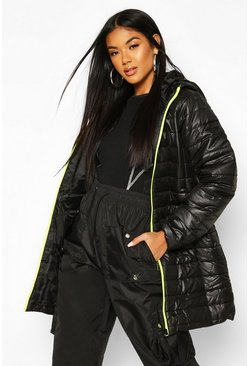 Neon-green Neon Zip Detail Puffer Jacket