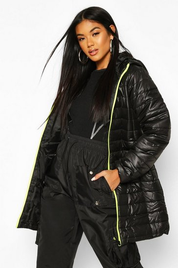 Womens Neon-green Neon Zip Detail Puffer Jacket