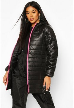 Womens Neon-pink Neon Zip Detail Puffer Jacket