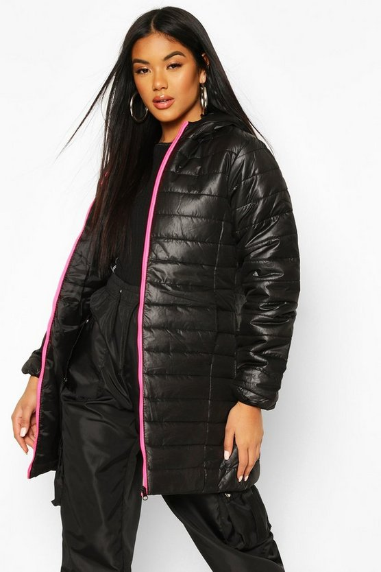 Neon Zip Detail Puffer Jacket