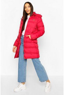 Womens Red Faux Fur Trim Longline Padded Jacket