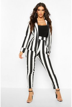 Black Stripe Longline Blazer & Skinny Trouser Co-ord