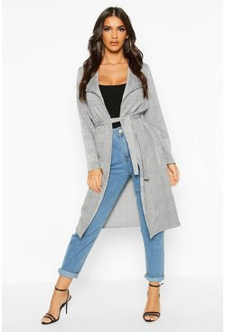 Grey Check Belted Duster Coat