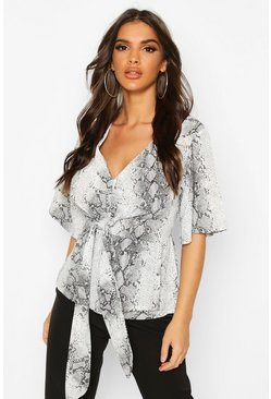 Grey Snake Print Knot Front Blouse