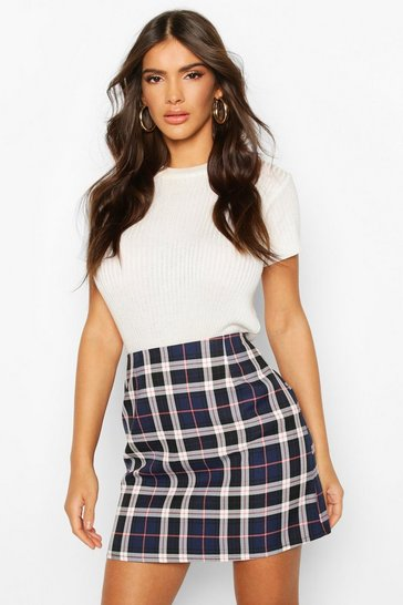 Navy Tartan Check A-Line Mini Skirt