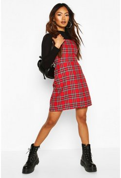 Red Tartan Check Woven Square Neck Pinafore