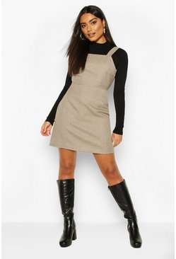 Brown Dogtooth Check Square Neck Pinafore