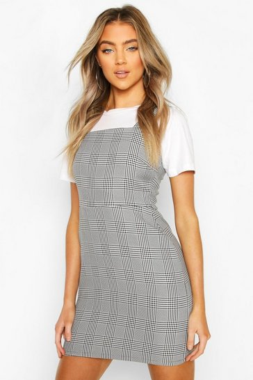 Grey Prince Of Wales Check Square Neck Pinafore