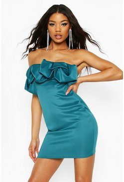 Teal Recycled Scrunched Mini Dress