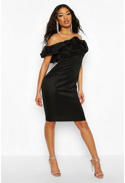 Black Recycled Scrunched Bardot Midi Dress