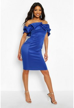 Cobalt Recycled Scrunched Bardot Midi Dress