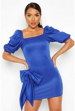 Cobalt Recycled Bow Detail Puff Mini Dress