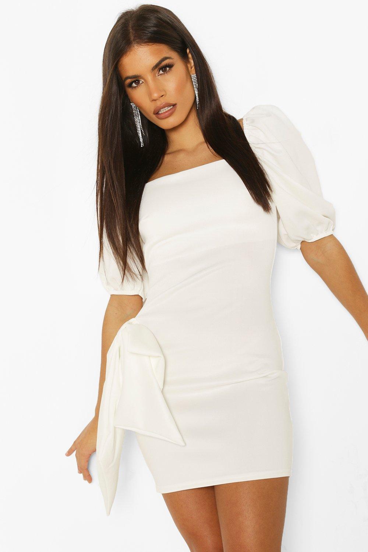 70s Dresses – Disco Dress, Hippie Dress, Wrap Dress Womens Boutique Floral Long Sleeve Skater Dress - white - 10 $12.00 AT vintagedancer.com