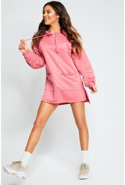 Womens Rose Recycled Batwing Hooded Sweat Dress