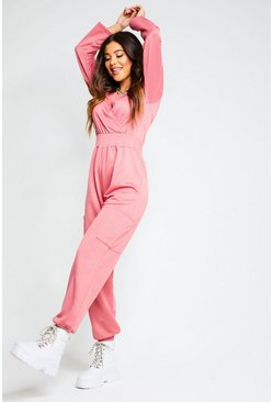 Womens Rose Recycled Cargo Pocket Sweat Jumpsuit