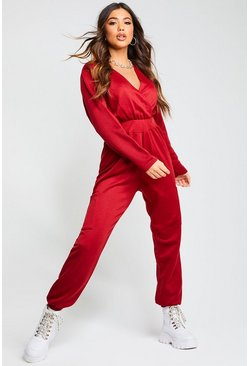 Wine Recycled Cargo Pocket Sweat Jumpsuit