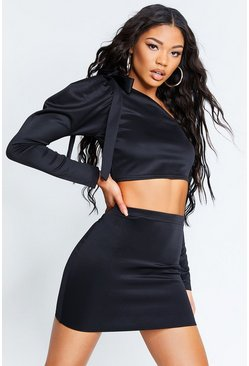 Black Recycled Puff Sleeve Crop Mini Skirt Co-Ord