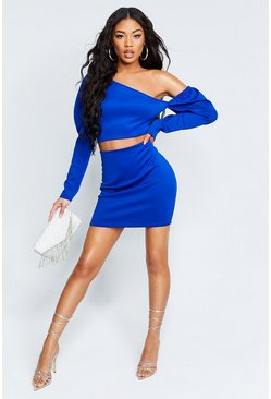 Womens Cobalt Recycled Puff Sleeve Crop Mini Skirt Co-Ord