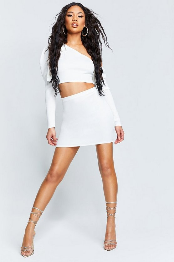 Recycled Puff Sleeve Crop Mini Skirt Co-Ord