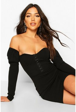 Black Cup Front Bardot Dress With Hook And Eye Fasten