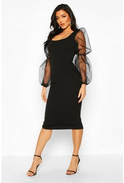 Black Scoop Neck Bodycon Dress With Organza Puff Sleeve