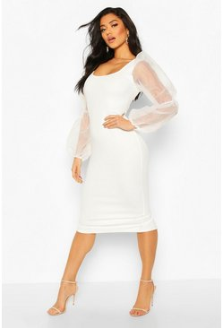 Womens Ivory Scoop Neck Bodycon Dress With Organza Puff Sleeve